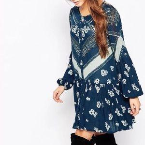 Printed Swing Mini DRESS Longsleeve Blue Grey